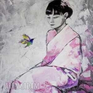 Akryl na płótnie TU I TERAZ 70x100cm obraz artystki plastyka Adriany Laube,