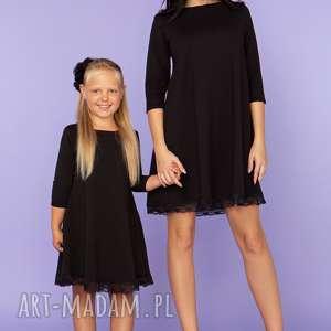 sukienki komplet dla mamy i córki, elegancka sukienka z koronką, model 25, czarny