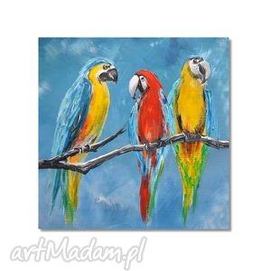 papugi, nowoczesny obraz ręcznie malowany, obraz, ręcznie, malowany