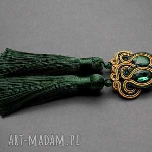 zielono-beżowe klipsy sutasz, sznurek, eleganckie, wiszące, wieczorowe, długie
