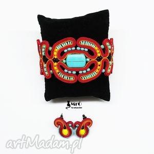komplety bransoleta i kolczyki soutache w azteckim stylu, bransoletka, sutasz
