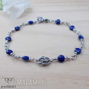 ręczne wykonanie lapis lazuli na okrągło - bransoletka