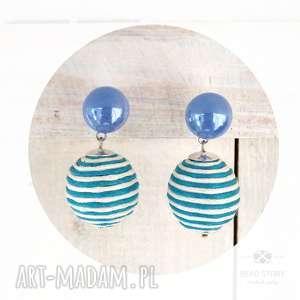 Kolczyki z kulką w paski turkusowo białe niebieskim oczkiem bead