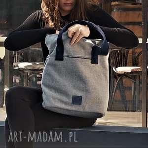 torba w charakterze worka w kolorze jasnoszarym - torba, torebka, torba-na-ramię