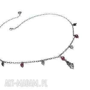 choker - naszyjnik - srebro, delikatny, choker, krótki, kryształki