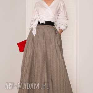 spódnice spódnica maxi w pepitkę, spódnica, elegancka, maxi, ponadczasowa, wesele