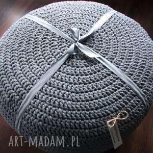 ręczne wykonanie duża pufa - stolik ze sznurka bawełnianego