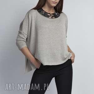 luźny sweterek, swe040 szary mkm, oversize, luźny, szeroki, elegancki