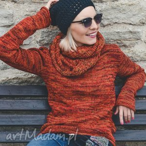 pomarańczowy melanżowy sweter z kominem, ciepły sweter, wełniany