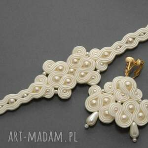 komplet biżuterii ślubnej z klipsami, sznurek, wyjściowy, kremowy, elegancki