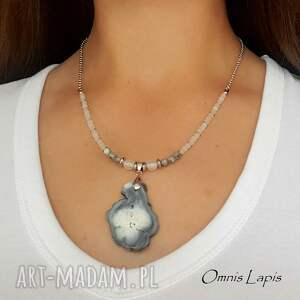 naszyjnik boho z chalcedonem - stal szlachetna, agat, kamień księżycowy, etno