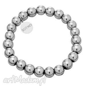 ręczne wykonanie grafitowa srebrna bransoletka modowa hematyt srebro 925 zawieszka
