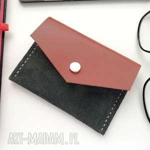 JEREMI, rachel skórzana zamszowa portmonetka - szara portfelik na karty etui na karty