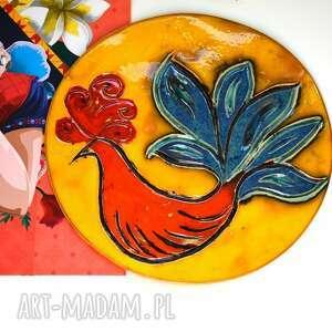 dekor ceramiczny z ptakiem, dekor, dekoracja scienna, ptak, kolorowy, kafel