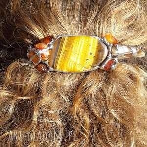 Prezent Spinka do włosów: tygrysie oko, spinka, tygrysie, amber, bursztyn,