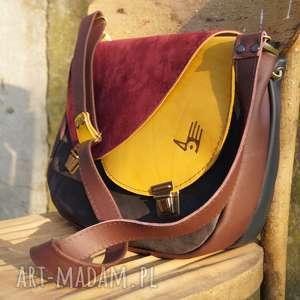 CELYNA torba dwukomorowa LISTOPADOWY LAS, kolorowa, jesienna, skóra, zamszowa