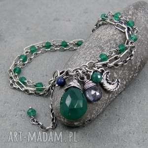 Trzyrzędowa z księżycem i zielonym onyksem, księżyc, łańcuszki, trzyrzędowa, boho