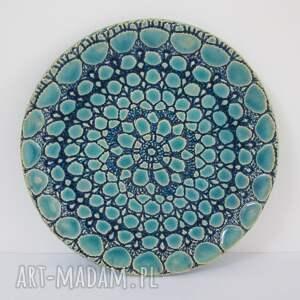 turkusowy talerzyk z koronką, ceramiczna, patera dekoracyjna