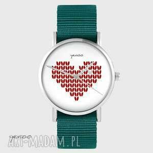 zegarek yenoo - serce dziergane, czerwone morski, zegarek, serce, dziergane