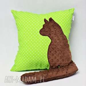 poduszka kot z ogonem, kotem 3d wystającym zielona