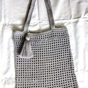 torba na zakupy handmade z chwostem torebka siatka, włóczki
