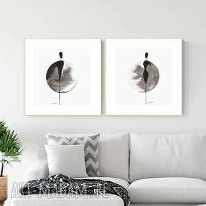 plakaty zestaw 2 grafik 30x30 cm wykonanych ręcznie, grafika czarno-biała