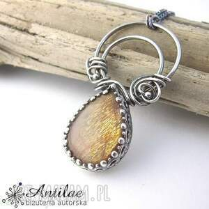 Naszyjnik z kamieniem słonecznym, srebrny naszyjnik, długi sunstone