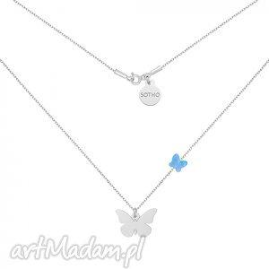 srebrny naszyjnik z motylami swarovski crystal, modny, naszyjnik, srebro, motylek