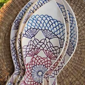ceramiczne talerze rybki z fakturą koronki, ryba, dekoracja, talerz, zestaw