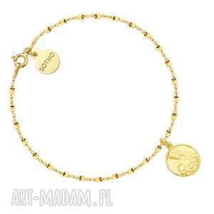 Złota bransoletka z medalikiem - ,bransoletka,medalik,żółte,złoto,modowy,trendy,