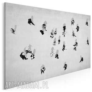 obraz na płótnie - street art ludzie szary 120x80 cm 59101, ludzie, rozmowy