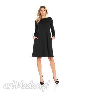 sukienka rozkloszowana czarna,długa rozmiar 38, lalu, sukienka, dzianina