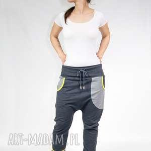 Spodnie damskie baggy - dres (grafit limonka), dresowe, yoga, taniec, ciążowe