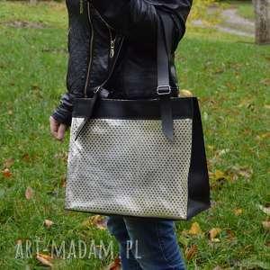 handmade na ramię skórzana torebka, czarno-srebrna, srebrne kwadraty, shooper