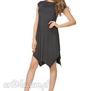 sukienki letnia sukienka z asymetrycznym dołem t137, ciemnoszara, sukienka