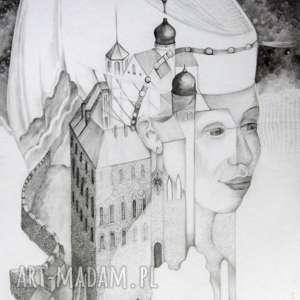 biała dama, średniowiecze, zamek, rysunek, historia, dwór