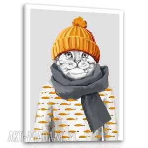 obraz drukowany na płótnie mały kotek w czapce formacie 60x80cm 02342, kot