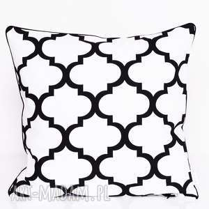 majunto poduszka fresh black-white 40x40cm od majunto, 40x40, koniczyna, marokańska