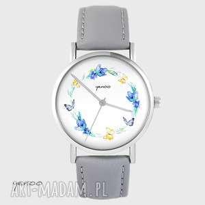 ręcznie robione zegarki zegarek yenoo - wianek, motyle szary, skórzany