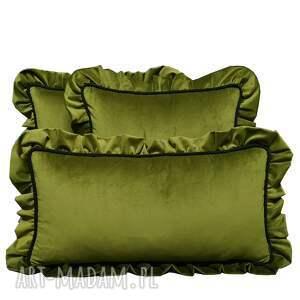 ręcznie robione poduszki dekoracyjne komplet 3 welur oliwka od majunto