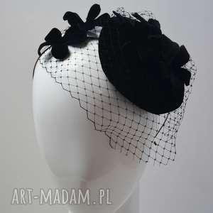 święta prezent, czarny kwiat, fascynator, aksamit, czarny, woalka