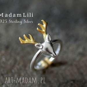 upominek świąteczny 925 Srebrny pierścionek Poroże jelenia , jeleń, zwierze, zima