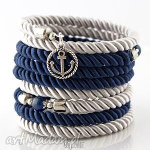 bransoletki bransoletka owijana marynarska - kotwica, bransoletka