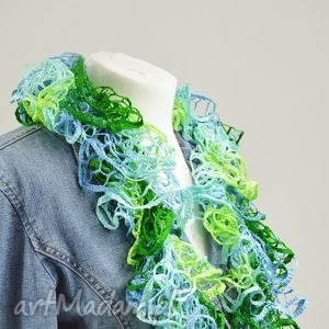 fantazyjny szal - wiosenny - szalik, apaszka, fantazyjny, zielony, prezent, promocja