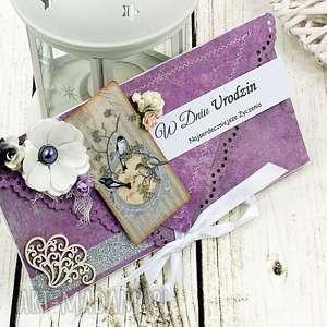 kopertówka urodzinowa- ametyst i srebro - urodziny, prezent, kartka, kopertówka