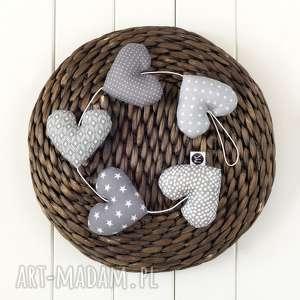 dekoracje sercowa szara girlanda, 5 serc, szare serca, dekoracja