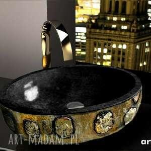 etnica - artystyczna umywalka nablatowa ze złotą strukturą