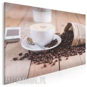 fotoobraz na płótnie - kawa filiżanka 120x80 cm 909201, kawa, ziarna