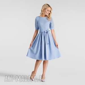 sukienka luiza midi niebieski, sukienka, midi, rozkloszowana, niebieska, pasek