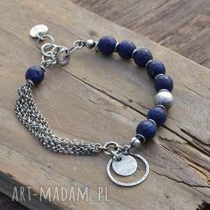 Lapis lazuli. Srebrna bransoletka z zawieszką, lapis, lazuli, srebro